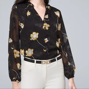 WHBM Black Yellow Floral Button Down Blouse Sz 6